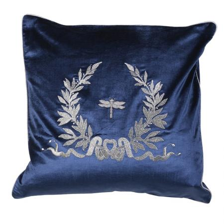 Navy & Silver Velvet Cushion Cover with Embroidery