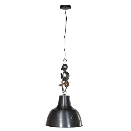 Industrial Hook & Rope Metal Pendant Light