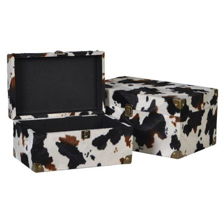 Set Of 2 Faux Cowhide Boxes