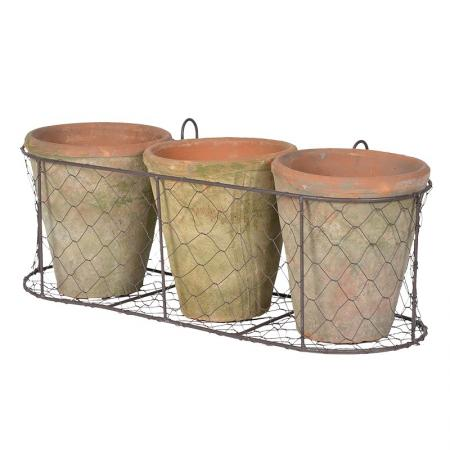2 x Hanging Wire Baskets with Garden Pots
