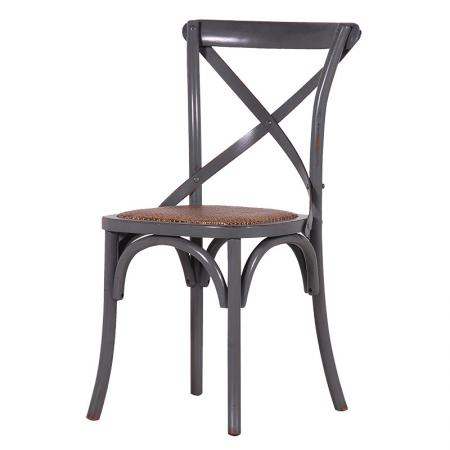 Grey X-Back Padded Rattan Dining Chair
