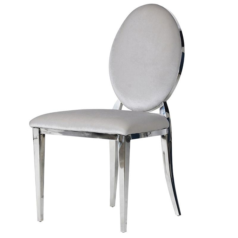 Silver & Chrome Oval Dining Chair