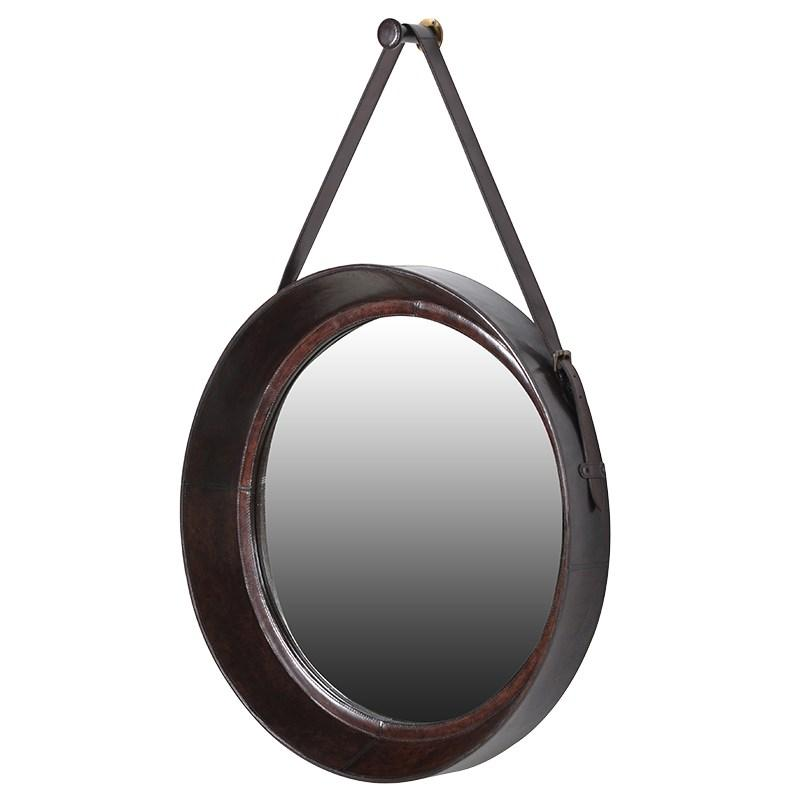 Large Round Brown Leather Hanging Mirror Mulberry Moon