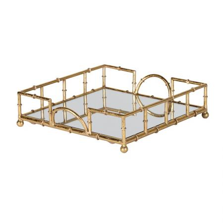 Gold Bamboo Metal Mirror Tray