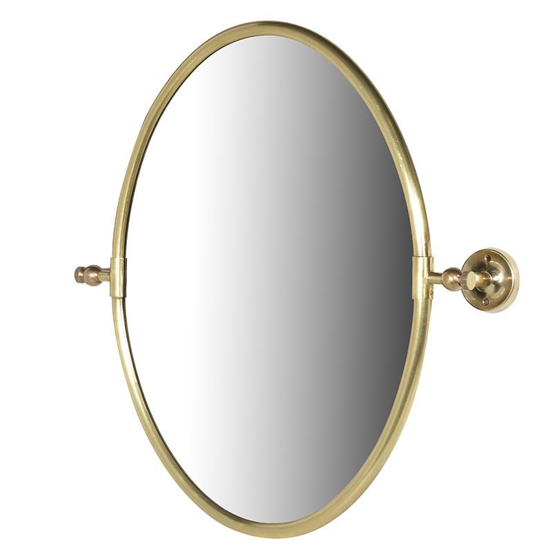 Contemporary gold brass oval wall mirror mulberry moon for Contemporary wall mirrors