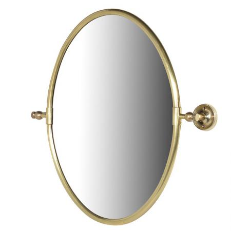 Contemporary Gold Brass Oval Wall Mirror