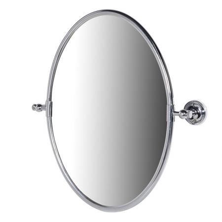 Contemporary Silver/ Brass Oval Wall Mirror