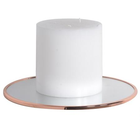 2 x Round Copper Mirrored Candle Plate / Trays
