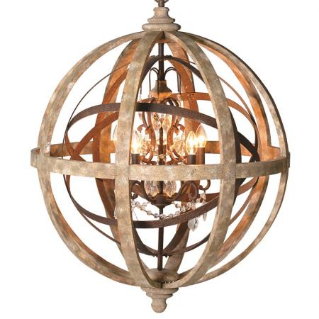 Huge Wood Metal Globe With Crystals Chandelier