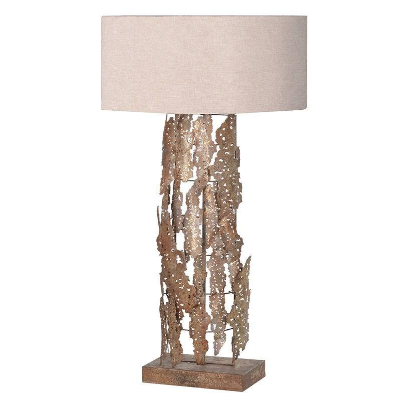 Large Metal Lamp Shade: Large Gold Metal Lamp With Beige Shade