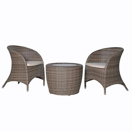 Round Grey Wicker Garden Patio Set