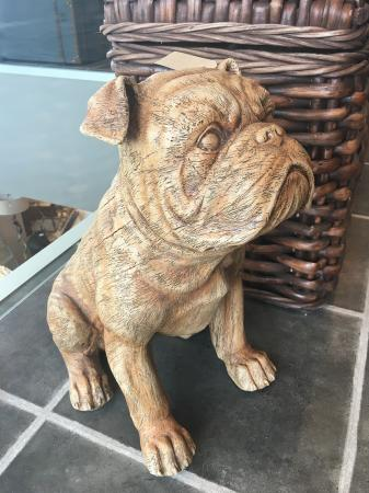 Large Resin Sitting Bulldog Sculpture