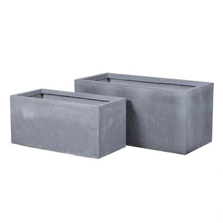Set of 2 Oblong Grey Garden Planters
