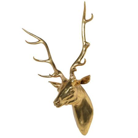 Large Gold Stag / Deer Head Wall Sculpture