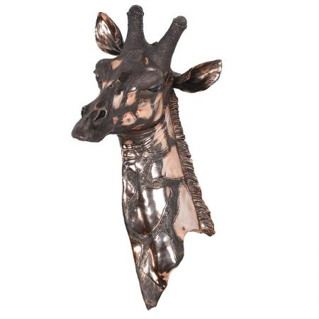 Huge Copper Distressed Chrome Giraffe Wall Sculpture