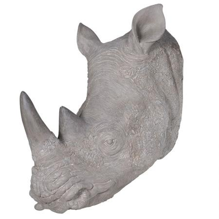 Large Realistic Rhino Head Wall Sculpture