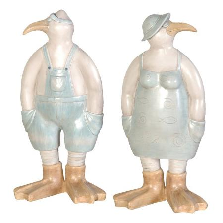 Set Of 2 Mr. & Mrs. Seagull Sculptures