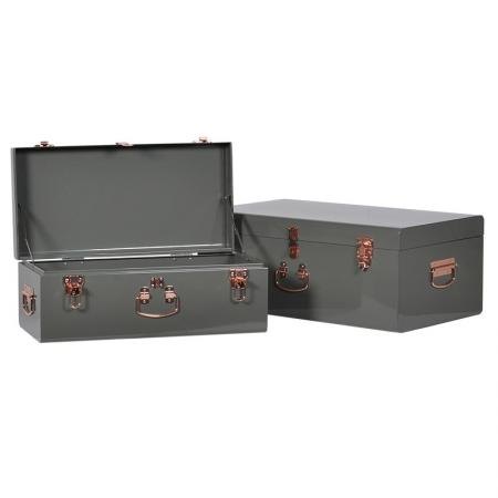 Set of 2 Green Metal Trunks / Storage Boxes