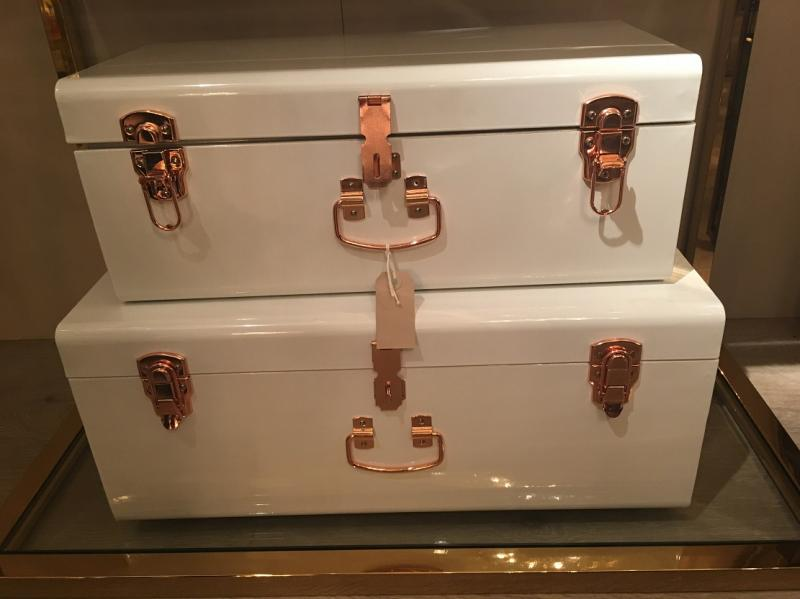 Set Of 2 White Amp Copper Metal Storage Trunks Mulberry Moon