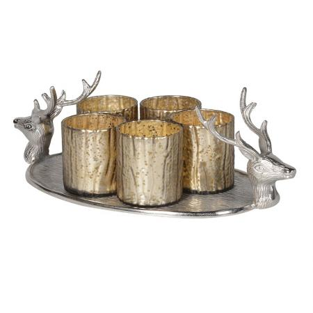 Deer Tray With 5 Silver Candle Votives