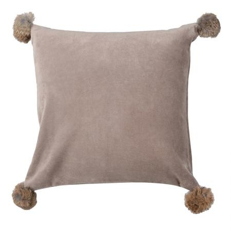 Beige Velvet Cushion Cover With Fur Pompoms