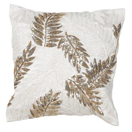 Beige Gold Sequin Leaf Cushion Cover