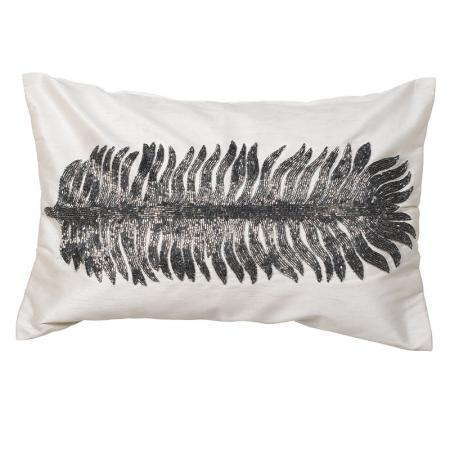 Beige Feather Beaded Cushion Cover
