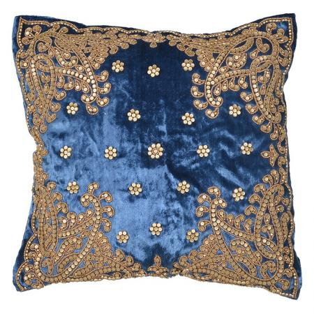 Blue Velvet & Gold Beaded Cushion Cover