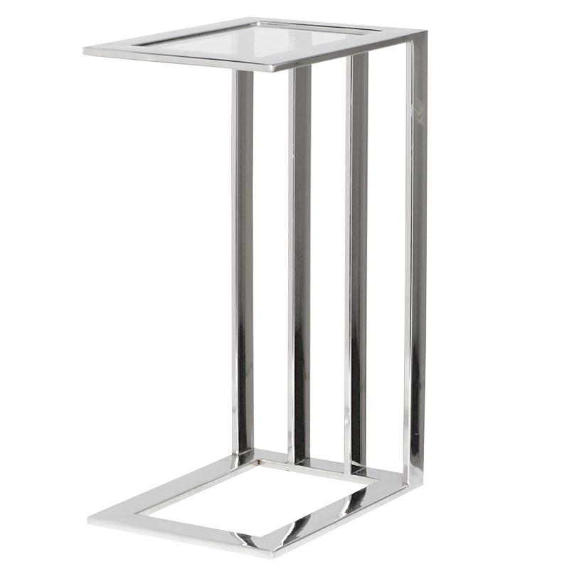 Narrow steel glass side table mulberry moon for Long narrow side table