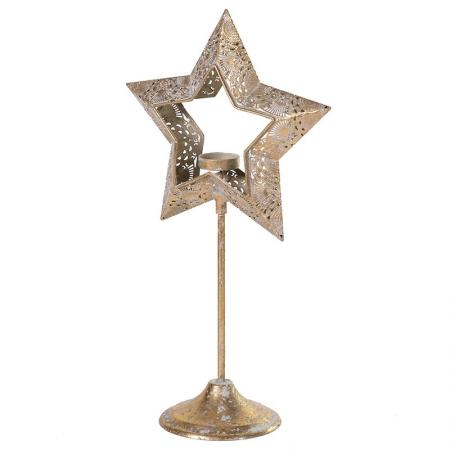2 x Gold Metal Cut Out Star T-Light Holders