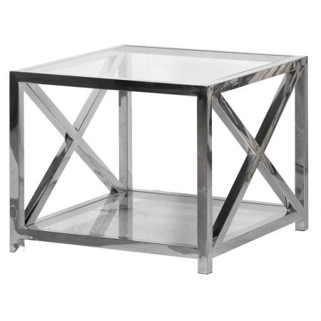 Square Glass & Steel End Table