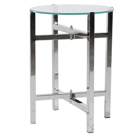 Small Round Steel & Glass Table