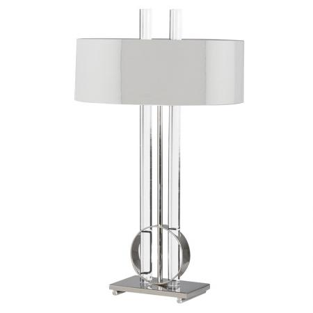 Brass / Steel & Glass Table Lamp With Metal Shade