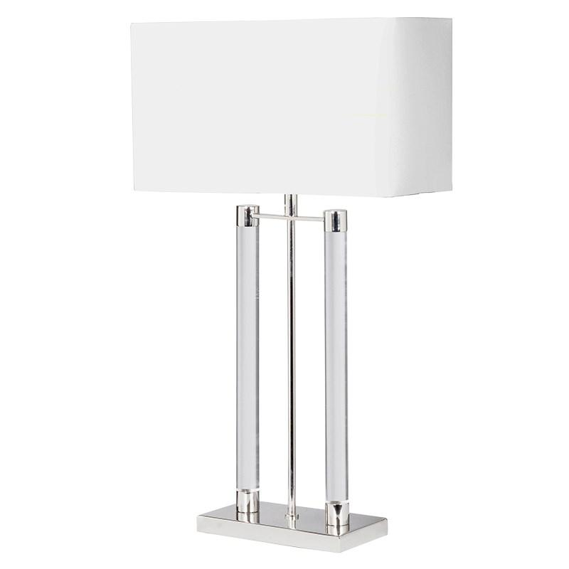 Nickel Amp Glass Table Lamp With White Shade