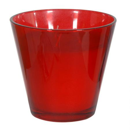 2 x 'Red Berry' Candles In Red Glass Holders
