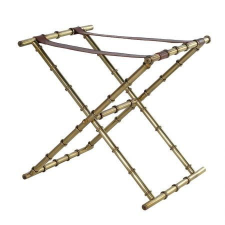 Antique Brass & Leather Luggage Rack