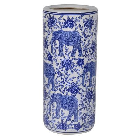 Blue/White Ceramic Elephant Umbrella Stand