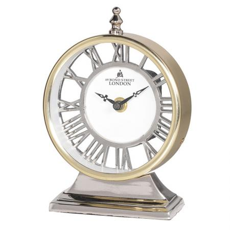 Gold Aluminium Two Tone Round Mantel Clock