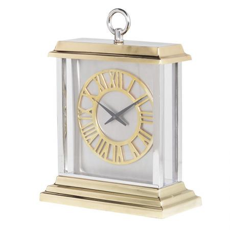 Gold Aluminium Two Tone Mantel Clock