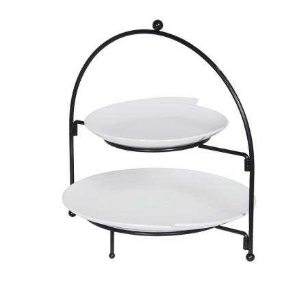 2 Tier Cake Stand With White Plates