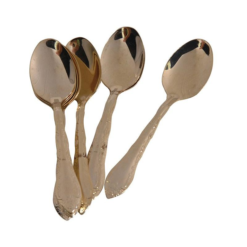 Set of 6 gold teaspoons with box mulberry moon for 6 table spoons