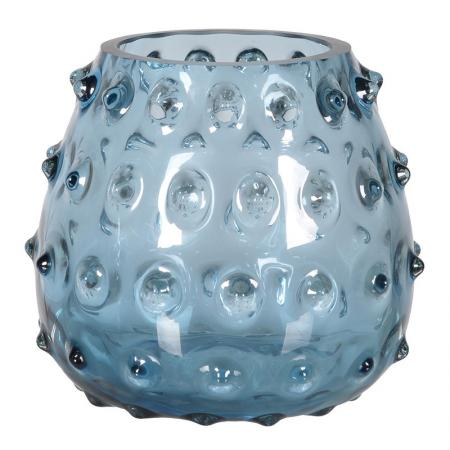 Chunky Blue Glass Candle Holder
