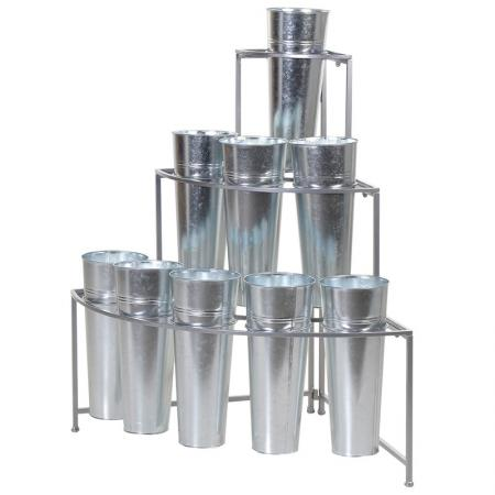 Set of 9 Metal Florist's Buckets / Vases on Tiered Stand