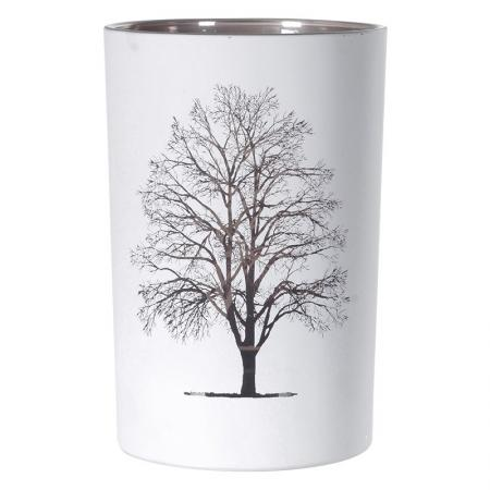 White Frosted Candle Holder With Gold Tree
