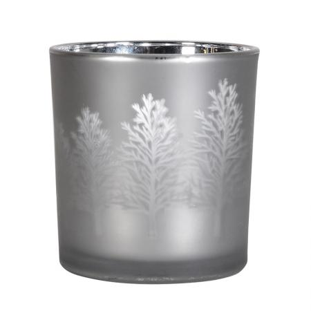 2 x Silver Glass T-Light Holders With Trees