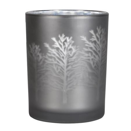 Medium Silver Glass T-Light Holder With Trees