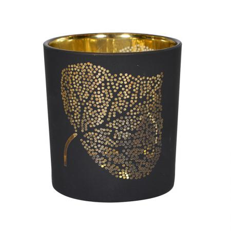 2 x Black & Gold Leaf T-Light Holders