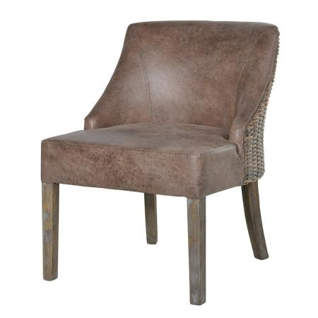 Rattan/Faux Leather Dining Chair