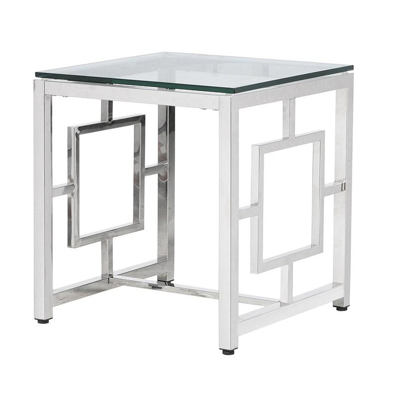 Terano Steel Square End Table With Glass