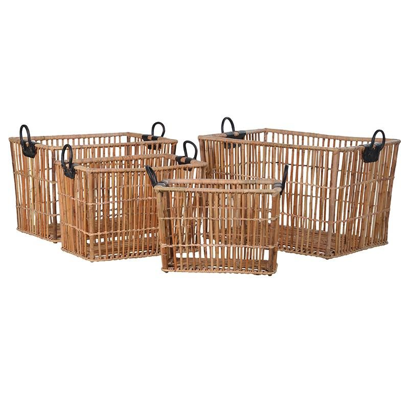 Set of 4 Leather Handled Baskets